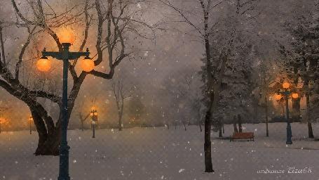 Анимация Снегопад в вечернем парке, анимация Eльза 68