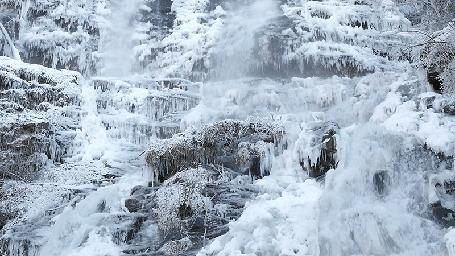 Анимация Огромные водопады зимой