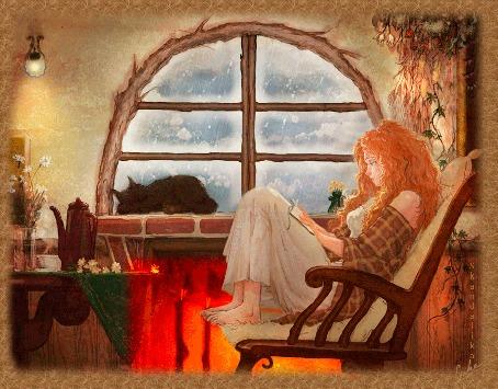 Анимация Девушка сидит у камина в кресле и качается, на окне, за которым падают листья, спит кошка