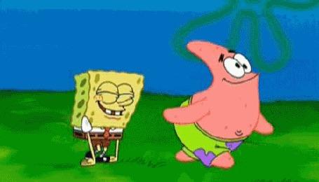 Анимация Патрик и Спанч Боб на прогулке, мультсериал Губка Боб Квадратные Штаны