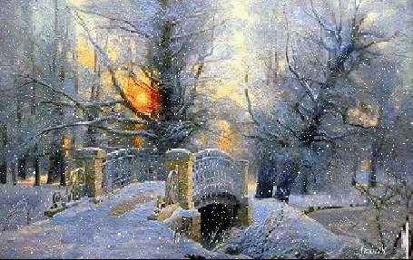 Анимация Снег, идущий над рекой, через которую перекинут заснеженный мост