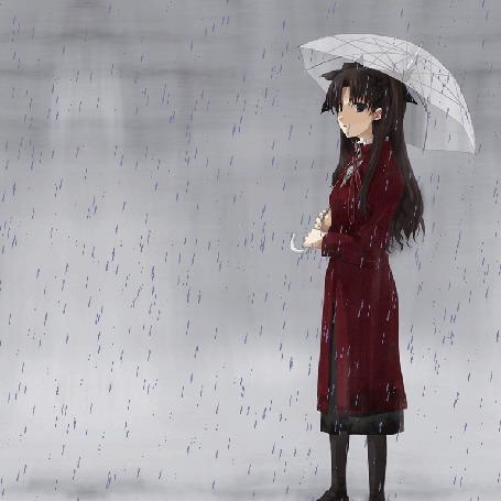Анимация Девушка с зонтом стоит под дождем