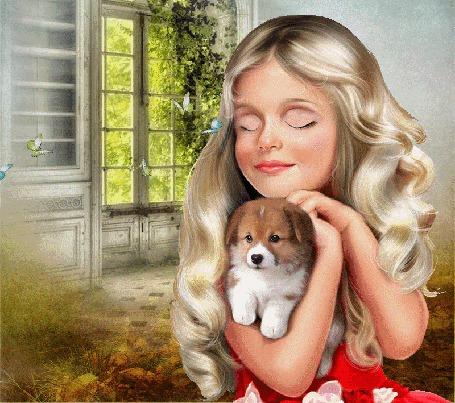 Анимация Девочка со щенком на руках