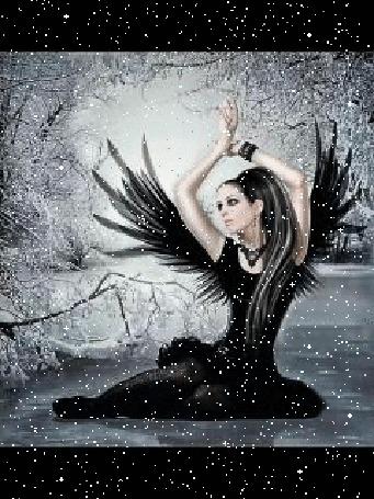 Анимация Девушка ангел-чернокрылый на зимнем фоне под падающим снегом