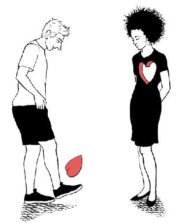 Анимация Парень подбрасывает ногой сердечко, стоя перед девушкой