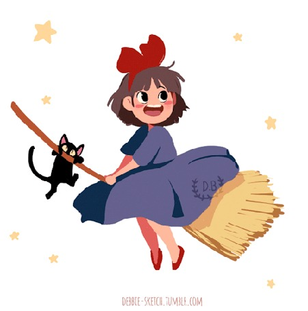 Анимация Kiki / Кики и Jiji / Джиджи из аниме Kikis Delivery Service / Ведьмина служба доставки