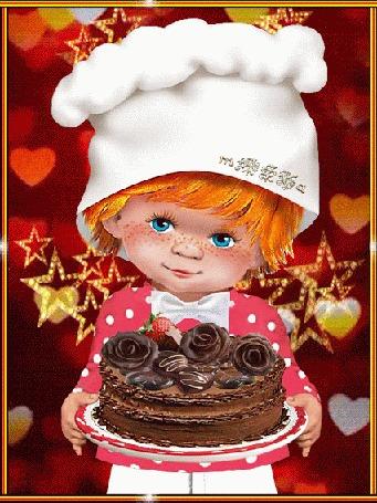 Анимация Голубоглазый мальчик с тортиком