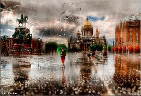Анимация Девушка с зонтом идет по улице города под дождем, Barkov