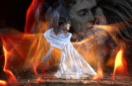 Анимация Девушка в белом дымчатом платье вспоминает о любимом