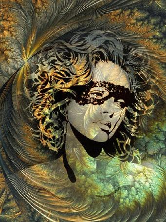 Анимация Девушка с грустными глазами, в черных, ажурных очках с на фоне абстрактного фрактала из растений, линий