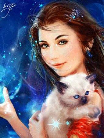 Анимация Девушка с котенком на руках, исходник art by Phoenix Lu