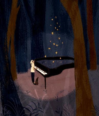 Анимация Парень играет на рояле и появляется волшебное свечение, рядом с ним сидит собака