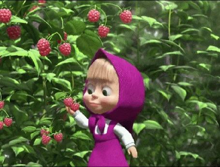 Анимация Маша срывает и кушает малину, мультсериал Маша и Медведь