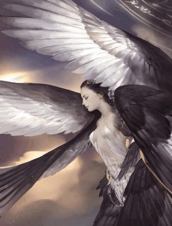 Анимация Парящая девушка-ангел с крыльями