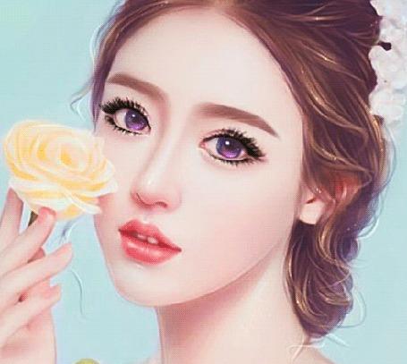 Анимация Девушка с фиолетовыми глазами и желтой розой в руке