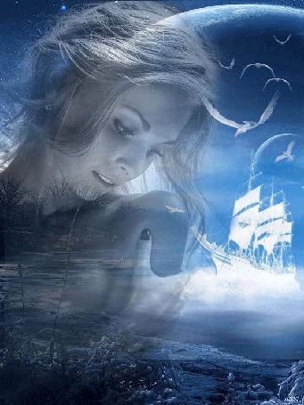 Анимация Грустная девушка на фоне заснеженного берега, травы, деревьев, моря, корабля, неба, чаек