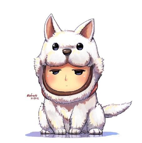 Анимация Парень чибик одет в живой костюм собаки, by Porforever
