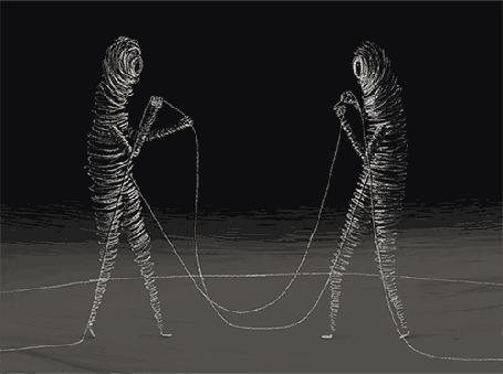 Анимация Два человечка из ниток распускают друг друга