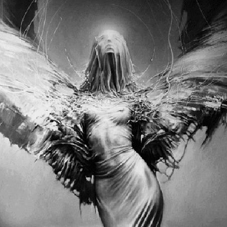 Анимация Девушка - ангел с накидкой на голове