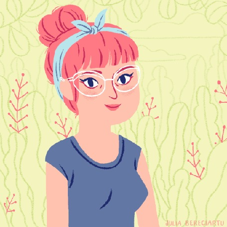 Анимация Девушка поправляет очки и вылетают цветочки