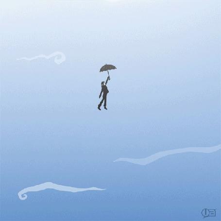 Анимация Человек с зонтом летит в небе, встречая всякие падающие предметы