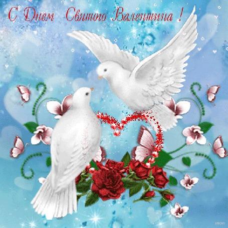 Анимация Два голубя воркуют, в лапках держат сердечко, обвитое цветами, летают бабочки на фоне падающих маленьких сердечек, (С Днем Святого Валентина! )