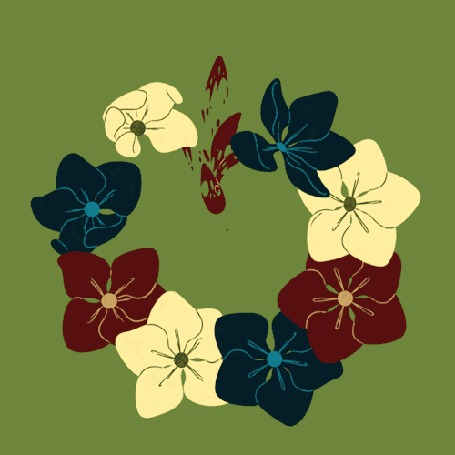 Анимация Цветы на зеленом фоне появляются и исчезают