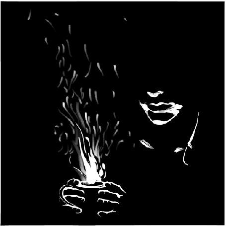 Анимация Парень держит в руках огонь