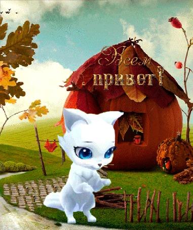 Анимация Белая кошка посылает воздушный привет, (Всем привет!)