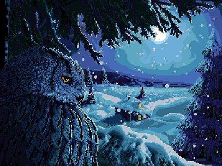 Анимация Сова на дереве под падающим снегом