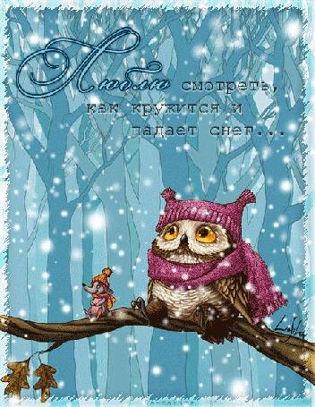 Анимация Сова и мышка сидят на ветке дерева под падающим снегом, (люблю смотреть как кружится и падает снег)