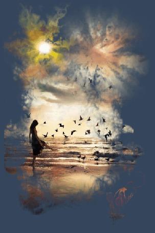 Анимация Девушка стоит у моря с летающими птицами