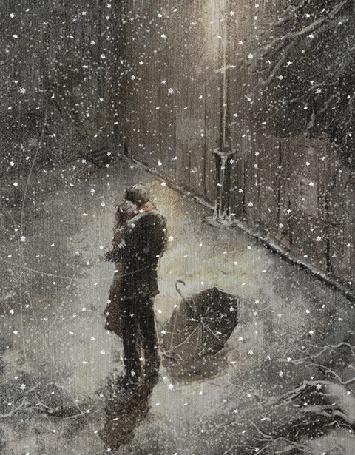 Анимация Влюбленные стоят под падающим снегом