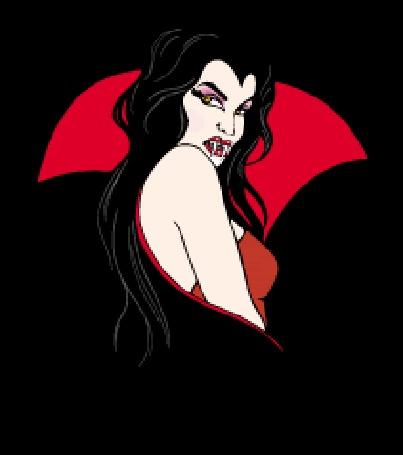 Анимация Девушка - вампир в красном наряде