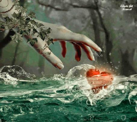 Анимация Рука тянется к сердечку в воде