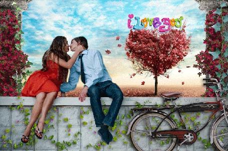 Анимация Влюбленная пара целуется на фоне голубого неба, (i love you / я люблю тебя), by Lush@