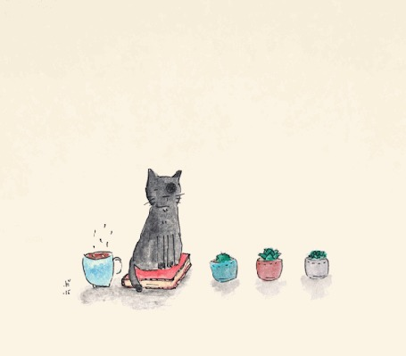 Анимация Кот спит, сидя на книге, рядом с цветами в горшках и чашкой кофе