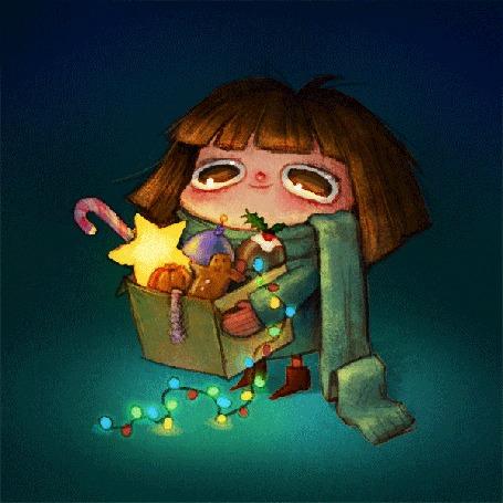 Анимация Девочка держит коробку с новогодними украшениями и сладостями