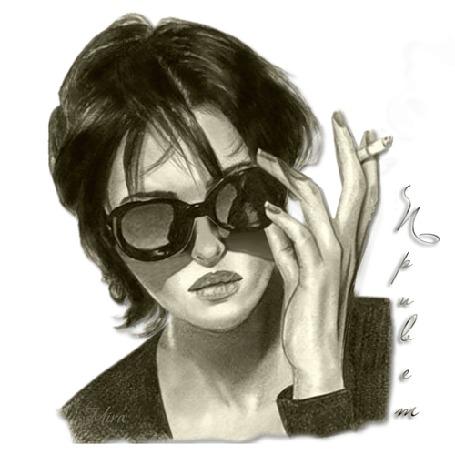 Анимация Monica Bellucci / Моника Беллучи приподнимает очки и курит, (Привет), by Mira