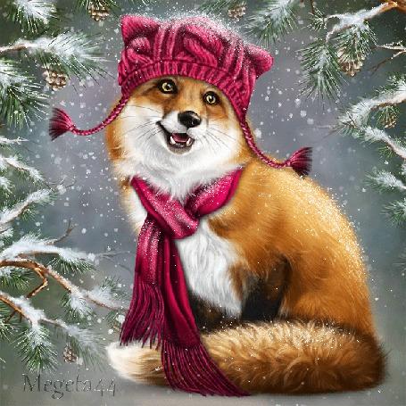 Анимация Рыжая лиса в шапочке и шарфе, by Megeta44