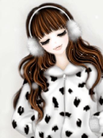 Анимация Девушка в белой пятнистой шубке и теплых наушниках на голове стоит под падающими снежинками