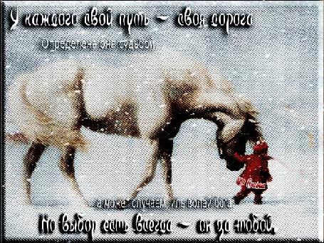 Анимация Маленькая девочка в метель ведет под узды белую лошадь (У каждого свой путь-своя дорога. Определена она судьбой, а может случаем, иль волей бога. Но выбор есть всегда - он за тобой), от Ангела