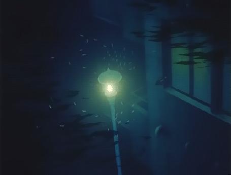 Анимация Светящийся городской фонарь отражается в воде