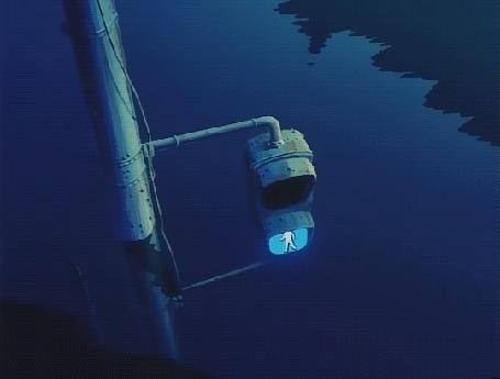 Анимация Пешеходный светофор над водой