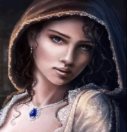 Анимация Девушка красивая с голубыми глазами с украшениями в капюшоне