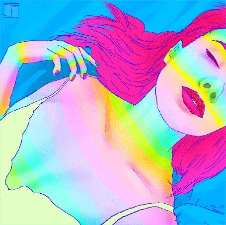 Анимация Девушка переливается всеми цветами радуги