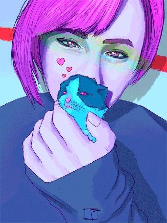 Анимация Девушка держит в руке маленького котенка