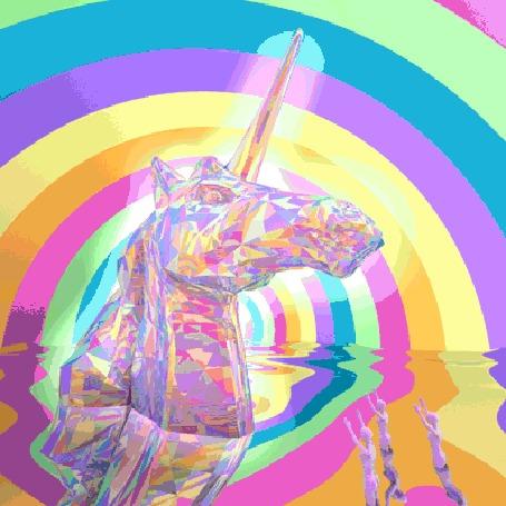 Анимация Единорог на фоне радуги