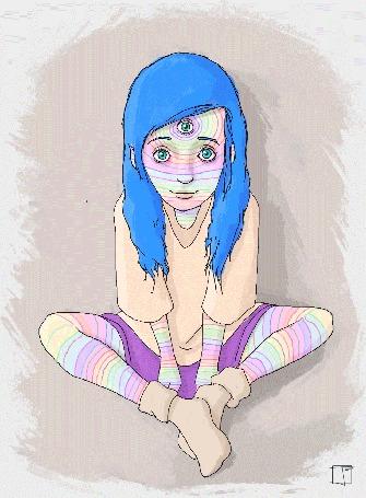 Анимация Девушка с тремя глазами сидит, скрестив ноги