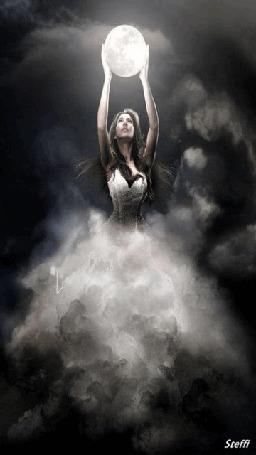 Анимация Парящая в небе с луной девушка, by Steffi